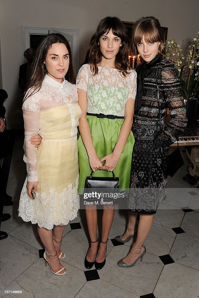 (L to R) Tallulah Harlech, Alexa Chung and Edie Campbell attend a dinner celebrating the launch of 'Valentino: Master Of Couture', the new exhibition showing at Somerset House from November 29, 2012 to March 3, 2013, at the Italian Embassy on November 28, 2012 in London, England.