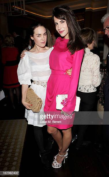 Tallulah Harlech and Caroline Sieber attends a cocktail party hosted by new EditorinChief of Harper's Bazaar UK Justine Picardie Manolo Blahnik and...