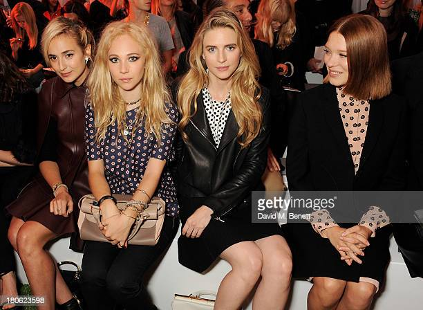 Tallulah Harlech Elisabeth von Thurn und Taxis Juno Temple Brit Marling and Lea Seydoux attend the Mulberry Spring/Summer 2014 show during London...