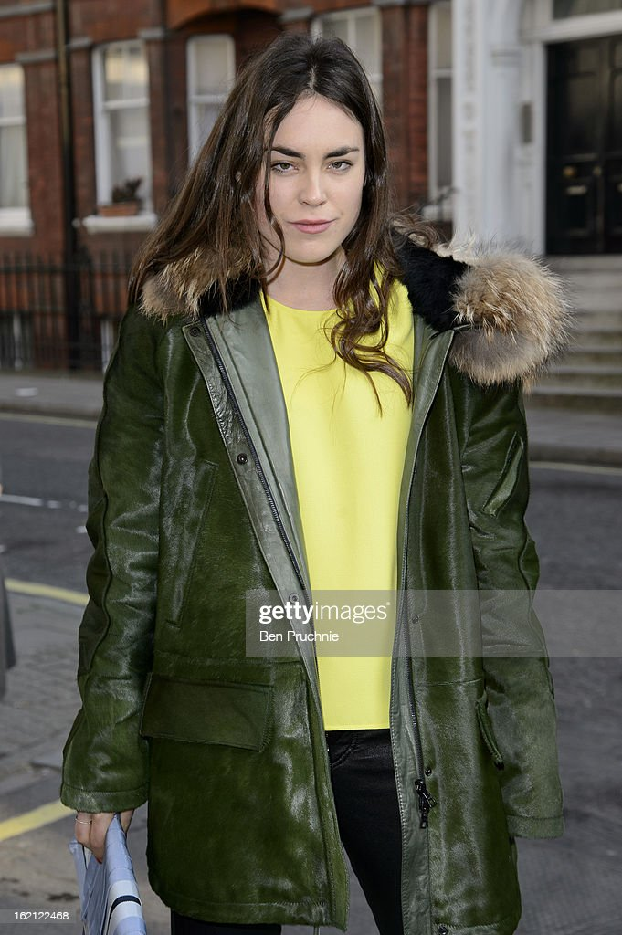 Tallulah Harlech is pictured arriving at the Anya Hindmarch catwalk show during London Fashion Week on February 19, 2013 in London, England.