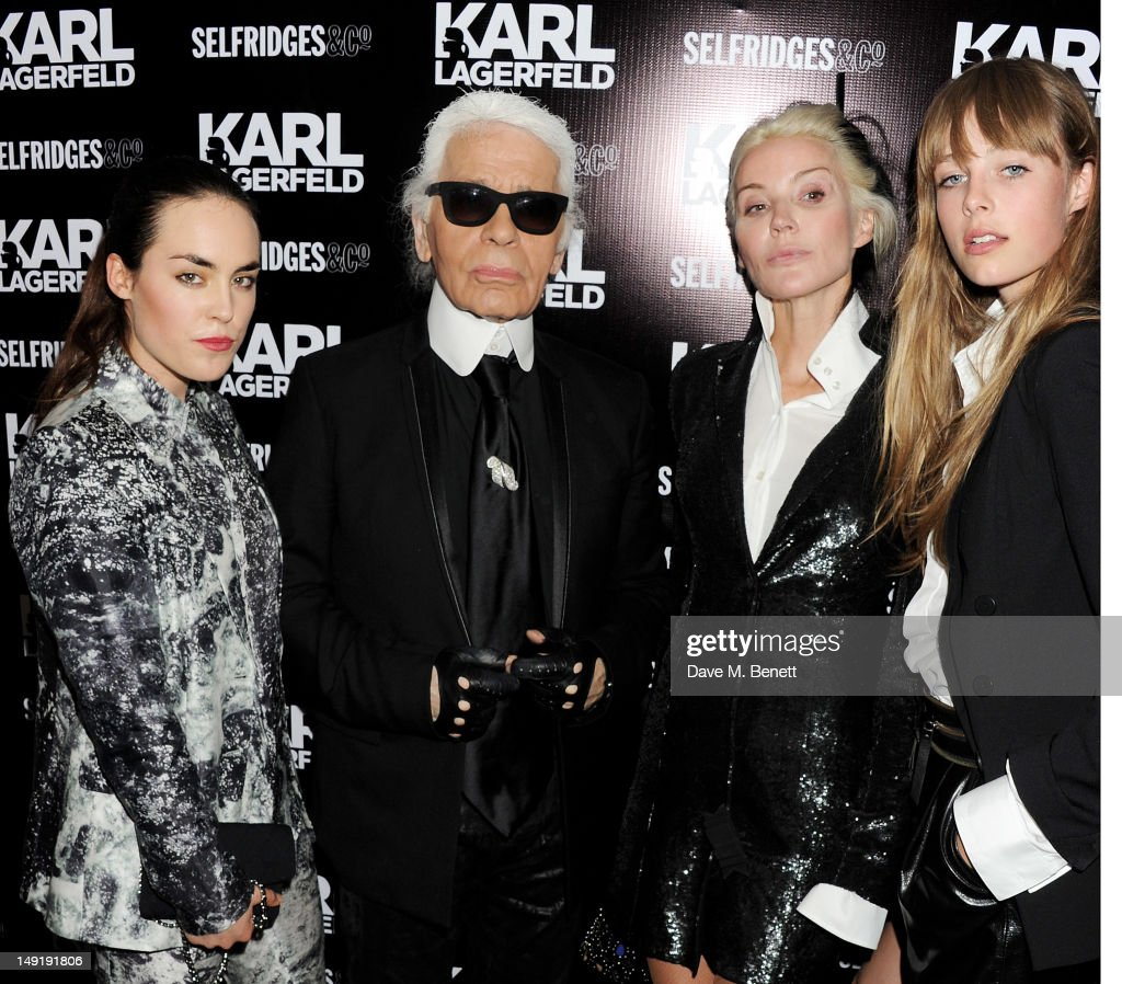 <a gi-track='captionPersonalityLinkClicked' href=/galleries/search?phrase=Tallulah+Harlech&family=editorial&specificpeople=5521162 ng-click='$event.stopPropagation()'>Tallulah Harlech</a>, Karl Lagerfeld, <a gi-track='captionPersonalityLinkClicked' href=/galleries/search?phrase=Daphne+Guinness&family=editorial&specificpeople=213037 ng-click='$event.stopPropagation()'>Daphne Guinness</a> and Edie Campbell attend a private cocktail party celebrating the launch of Karl Lagerfeld's collections 'KARL (Man + Woman)' and 'KARL LAGERFELD PARIS (Man)' on the Selfridges Rooftop on July 24, 2012 in London, England.