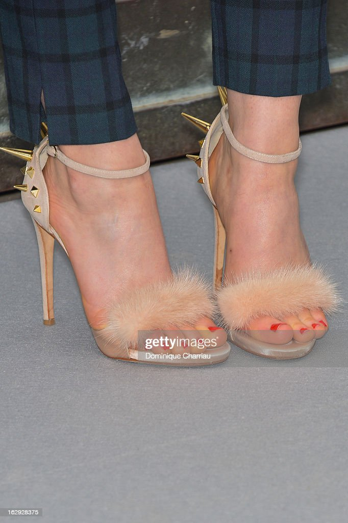 Tallulah Harlech (shoe detail) poses as she arrives at the Christian Dior Fall/Winter 2013 Ready-to-Wear show as part of Paris Fashion Week on March 1, 2013 in Paris, France.
