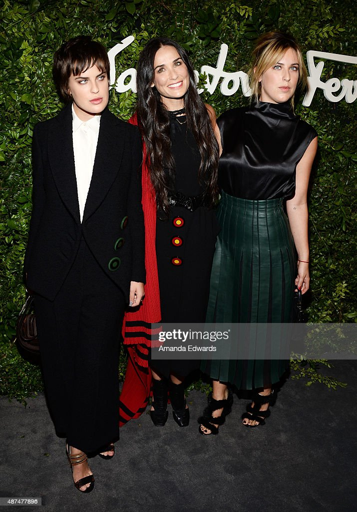 Tallulah Willis, Demi Moore and Scout Willis arrive at the Salvatore Ferragamo 100 Years In Hollywood celebration at the newly unveiled Rodeo Drive flagship Salvatore Ferragamo boutique on September 9, 2015 in Beverly Hills, California.