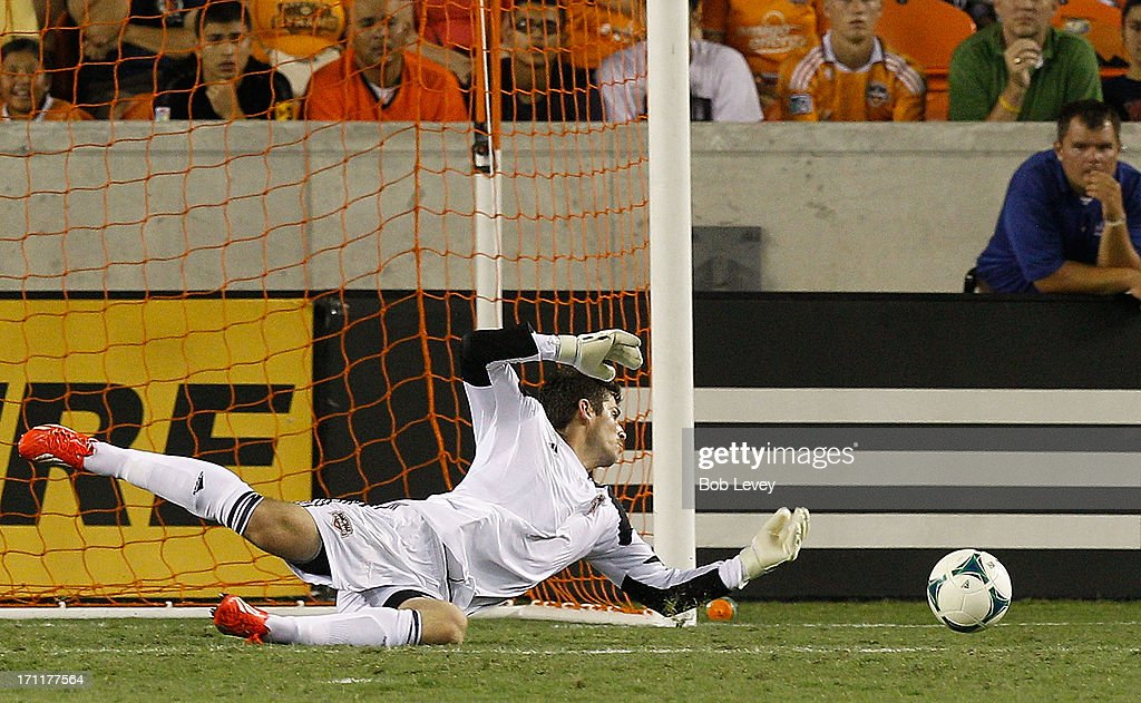 Tally Hall #1 of Houston Dynamo watches the ball go just wide of the goal in the second half against the Toronto FC at BBVA Compass Stadium on June 22, 2013 in Houston, Texas.