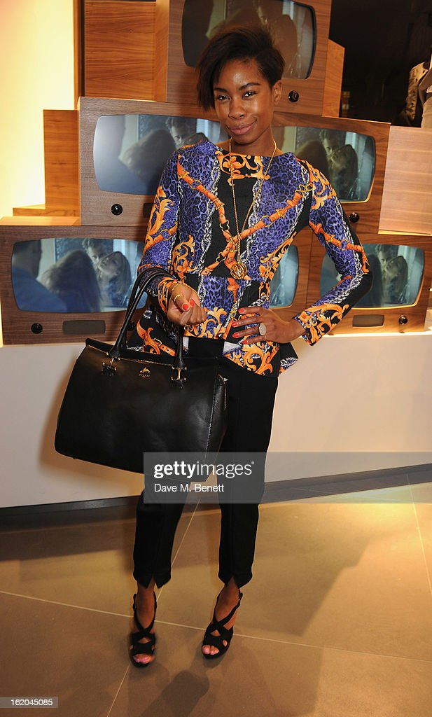 Talulah Adeyemi attends the Calvin Klein Jeans launch party at their Regent Street store on February 18, 2013 in London, England.