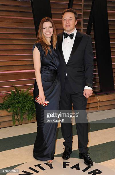 Talulah Riley and CEO of Tesla Motors Elon Musk attend the 2014 Vanity Fair Oscar Party hosted by Graydon Carter on March 2 2014 in West Hollywood...