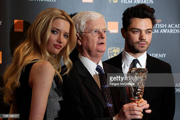 LR Talulah Riley Tim Corrie and Domonic Cooper attend The Orange British Academy Film Awards nominations annoucement held at BAFTA on January 18 2011...
