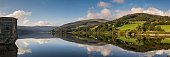 A panoramic shot of Talybont Reservoir captured on a bright Autumn morning.