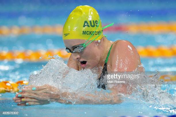 Talyor McKeown of Australia swims in the Women's 100m Breaststroke Final during day two of the 2014 Pan Pacific Championships at Gold Coast Aquatics...