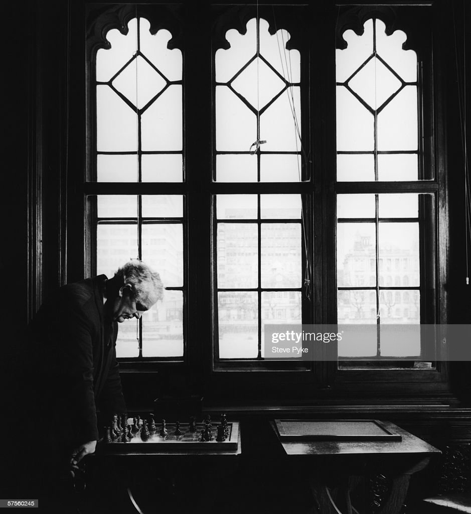 Tam Dalyell, MP for Linlithgow, in the Chess Room at the House of Commons, February 1995.