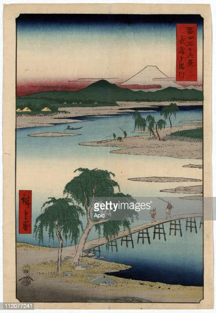 Tama river Musashi Province Japan in the background Mount Fuji japanese engraving by Ando Hiroshige 1858