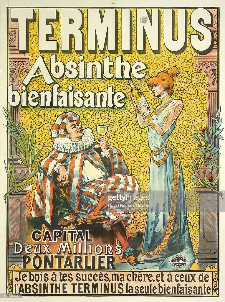 Tamagno's poster for Absinthe Terminus used the likenesses of two famous stage personalities of the day Constant Coquelin and Sarah Bernhardt...