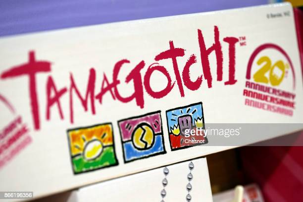 A 'Tamagotchi' electronic pet logo is seen in a toy store on October 25 2017 in Paris France Tamagotchi is a virtual electronic animal which means...