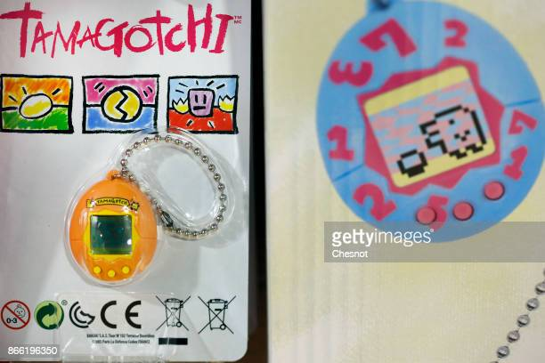 A 'Tamagotchi' electronic pet toy is displayed in a toy store on October 25 2017 in Paris France Tamagotchi is a virtual electronic animal which...