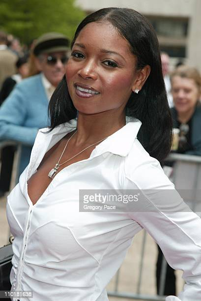 Tamala Jones wearing an outfit by H Lorenzo during NBC 20032004 Upfront Arrivals at The Metropolitan Opera House in New York City New York United...