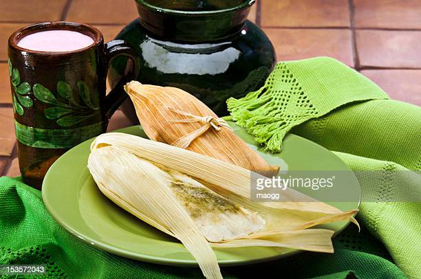 Tamales and atole, a traditional Mexican dish