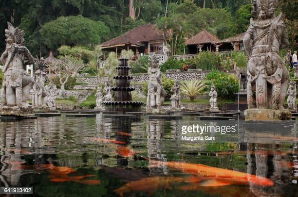 Taman Tirta Gangga water palace, Bali. Artificial pond with statues and carp