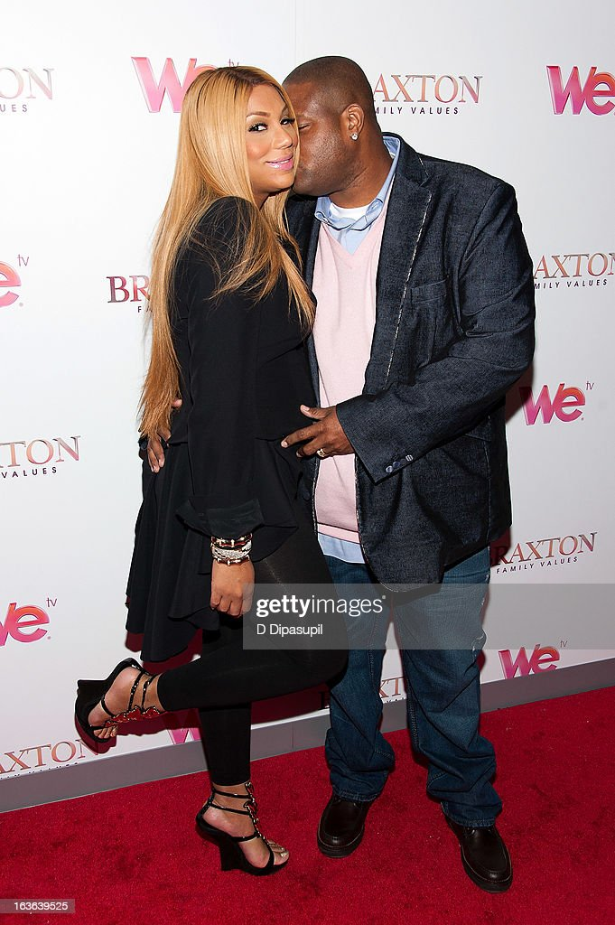 <a gi-track='captionPersonalityLinkClicked' href=/galleries/search?phrase=Tamar+Braxton&family=editorial&specificpeople=2079619 ng-click='$event.stopPropagation()'>Tamar Braxton</a> (L) and husband Vincent Herbert attend the 'Braxton Family Values' Season Three premiere party at STK Rooftop on March 13, 2013 in New York City.