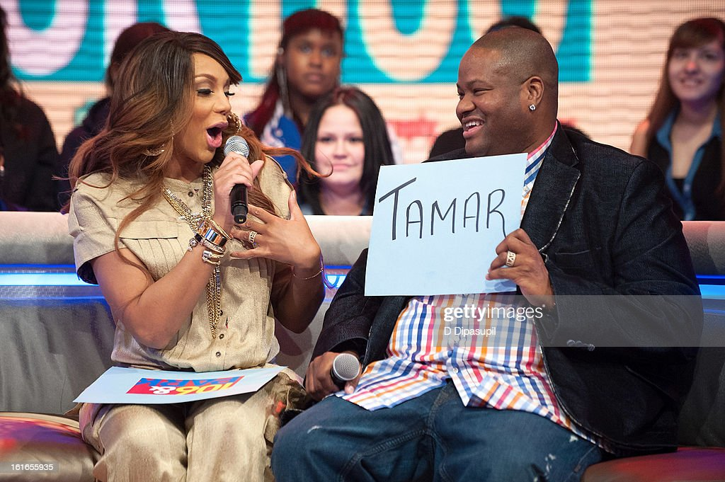 <a gi-track='captionPersonalityLinkClicked' href=/galleries/search?phrase=Tamar+Braxton&family=editorial&specificpeople=2079619 ng-click='$event.stopPropagation()'>Tamar Braxton</a> (L) and husband Vincent Herbert visit BET's '106 & Park' at BET Studios on February 13, 2013 in New York City.