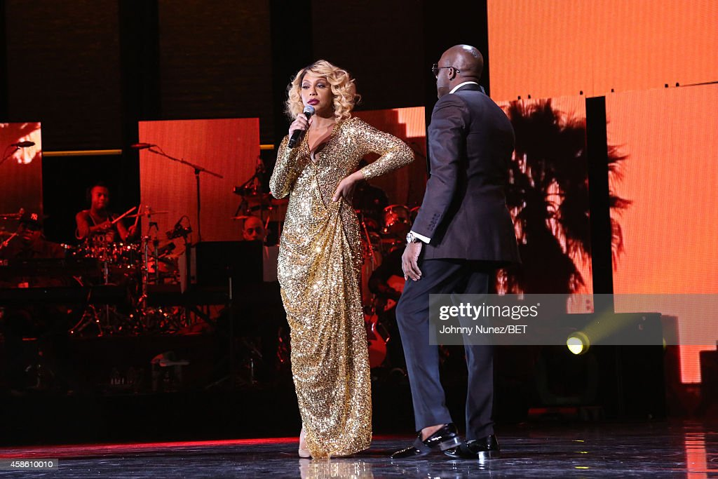 Tamar Braxton and Joe perform during Centric Presents The 2014 Soul Train Awards on November 7 2014 in Las Vegas Nevada