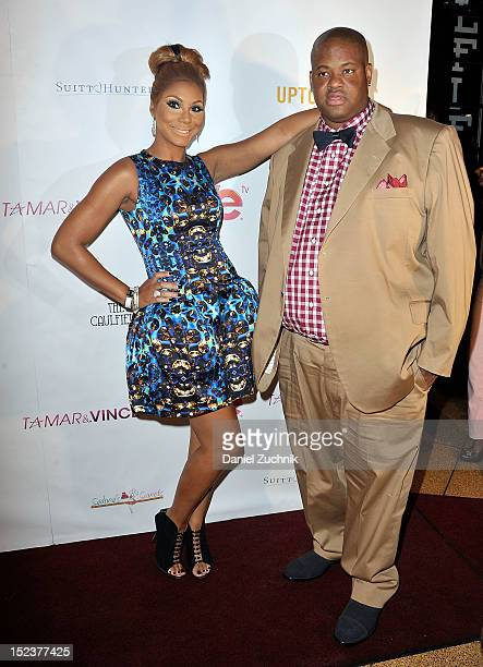 Tamar Braxton and Vince Herbert attend WE tv's 'Tamar And Vince' screening party at The Caulfield on September 19 2012 in New York City
