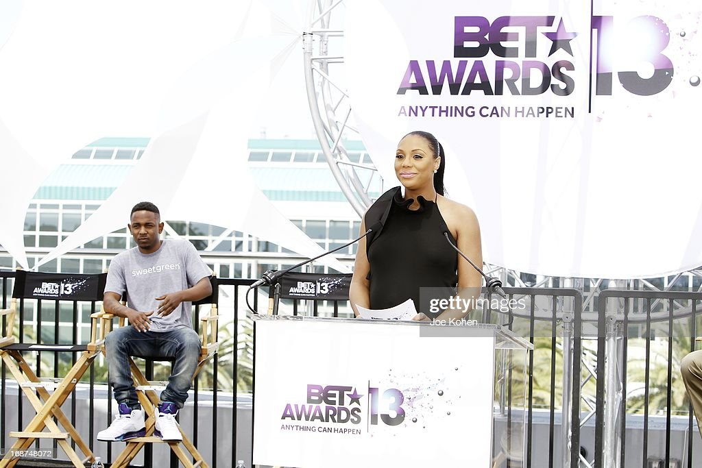 <a gi-track='captionPersonalityLinkClicked' href=/galleries/search?phrase=Tamar+Braxton&family=editorial&specificpeople=2079619 ng-click='$event.stopPropagation()'>Tamar Braxton</a> attends the BET Experience At L.A. Live Press Conference at Icon Ultra Lounge on May 14, 2013 in Los Angeles, California.