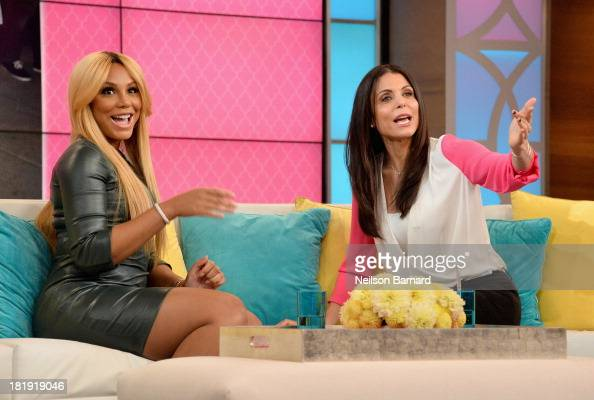 Tamar Braxton Bethenny try cronuts at the CBS Broadcast Center on September 24 2013 in New York City