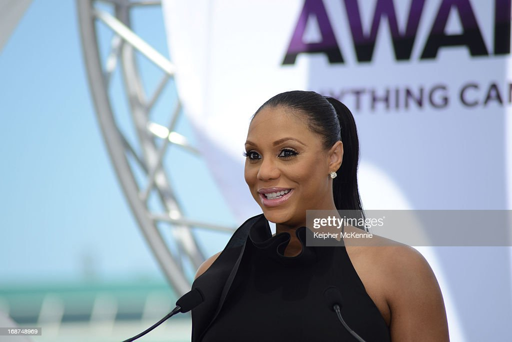 Tamar Braxton on stage at the 2013 BET Awards press conference at Icon Ultra Lounge on May 14, 2013 in Los Angeles, California.