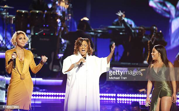 Tamar Braxton Patti LaBelle and KMichelle perform onstage during the 2015 BET Awards held at Microsoft Theater on June 28 2015 in Los Angeles...
