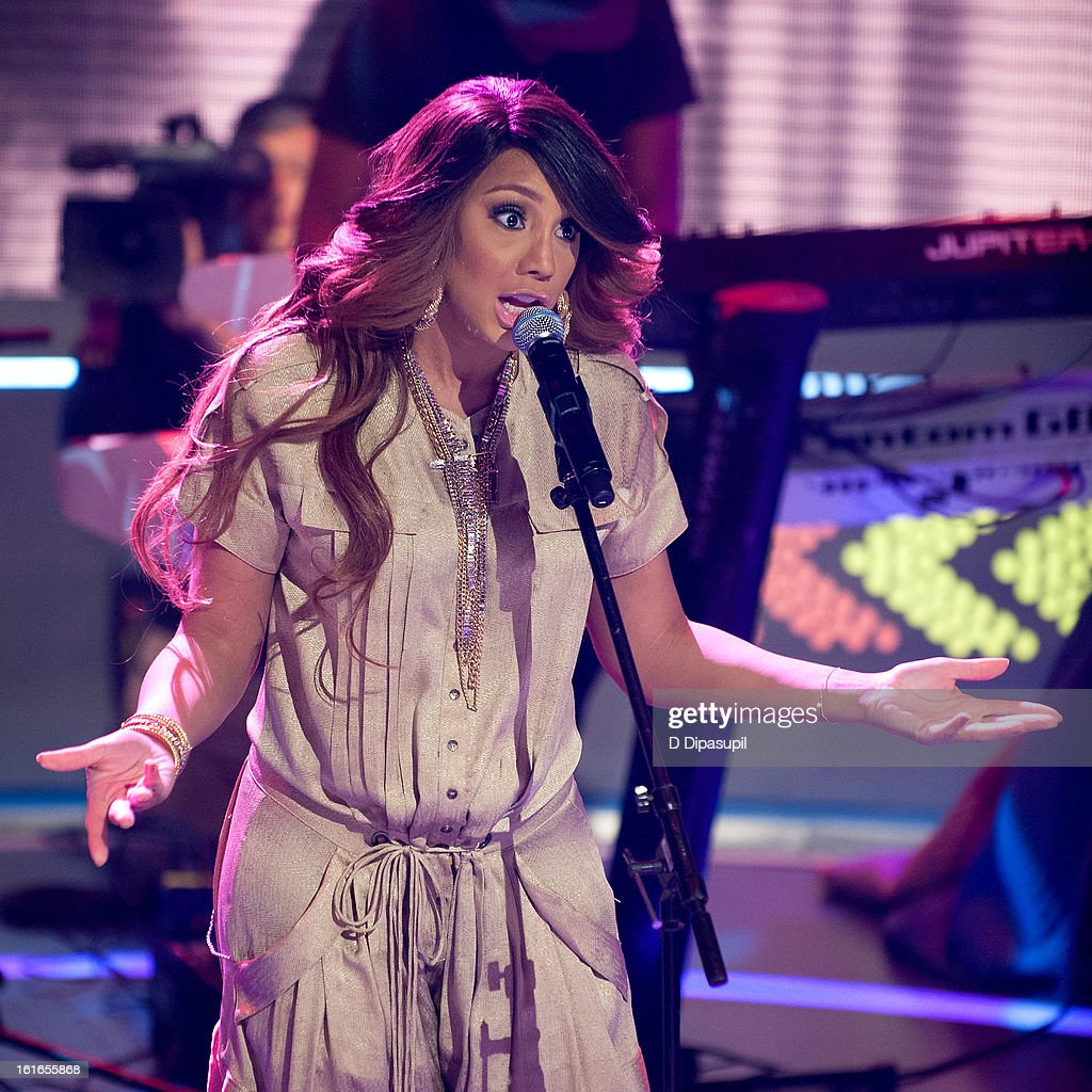 <a gi-track='captionPersonalityLinkClicked' href=/galleries/search?phrase=Tamar+Braxton&family=editorial&specificpeople=2079619 ng-click='$event.stopPropagation()'>Tamar Braxton</a> performs on BET's '106 & Park' at BET Studios on February 13, 2013 in New York City.