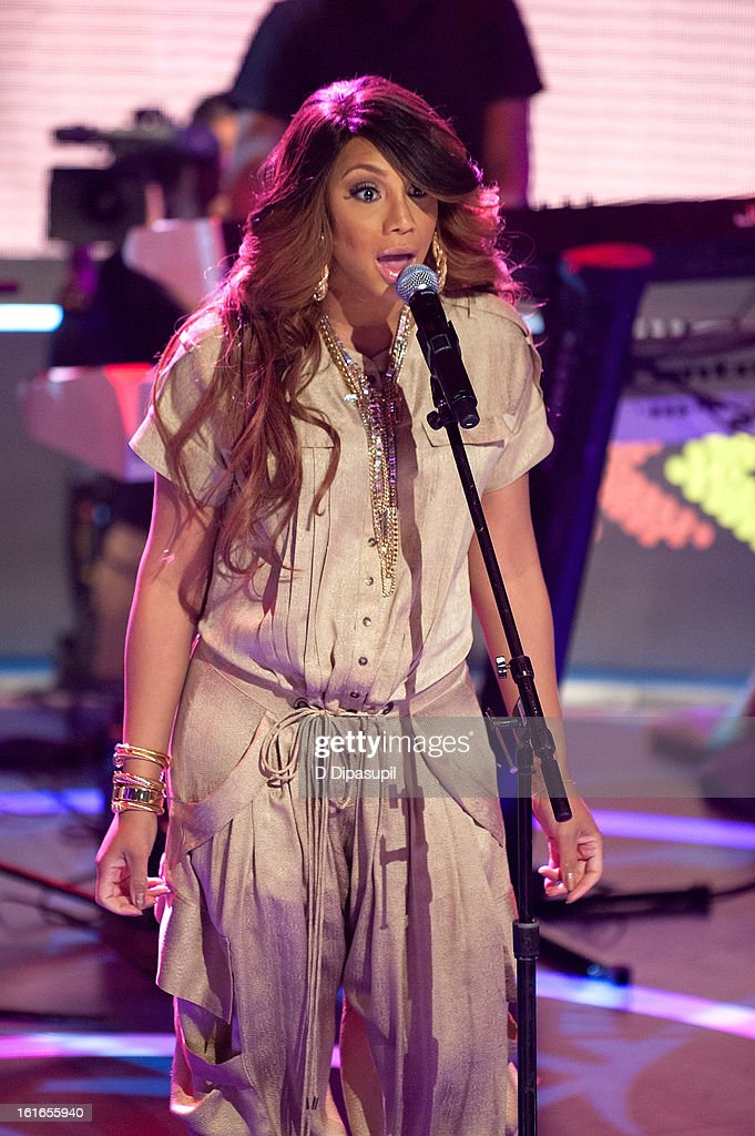 Tamar Braxton performs on BET's '106 & Park' at BET Studios on February 13, 2013 in New York City.