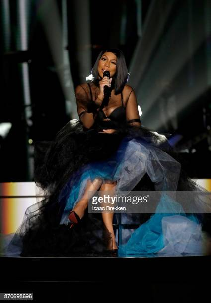 Tamar Braxton performs onstage at the 2017 Soul Train Awards presented by BET at the Orleans Arena on November 5 2017 in Las Vegas Nevada