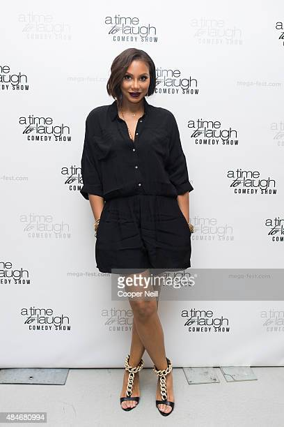 Tamar Braxton poses for a photo before the 'A Time to Laugh' comedy show during MegaFest at the Dallas Convention Center on August 20 2015 in Dallas...