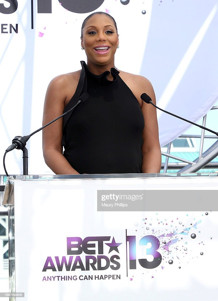 <a gi-track='captionPersonalityLinkClicked' href=/galleries/search?phrase=Tamar+Braxton&family=editorial&specificpeople=2079619 ng-click='$event.stopPropagation()'>Tamar Braxton</a> speaks onstage during the BET Awards 2013 Press Conference at Icon Ultra Lounge on May 14, 2013 in Los Angeles, California.
