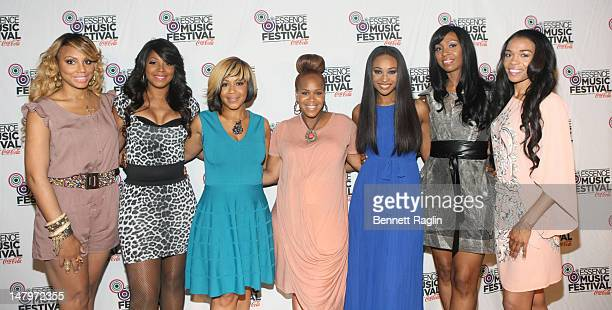 Tamar Braxton Trina Braxton Erica Campbell Tina Campbell Cynthia Bailey Malorie BaileyMassie and Michelle Wiliams attend the 2012 Essence Music...