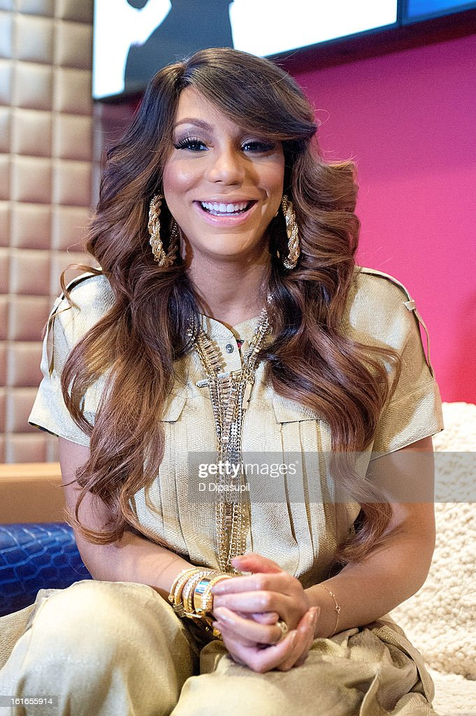 Tamar Braxton visits BET's '106 & Park' at BET Studios on February 13, 2013 in New York City.