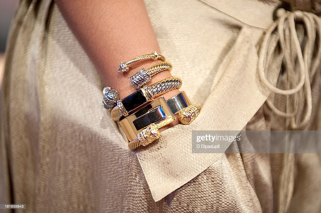 Tamar Braxton (jewelry detail) visits BET's '106 & Park' at BET Studios on February 13, 2013 in New York City.