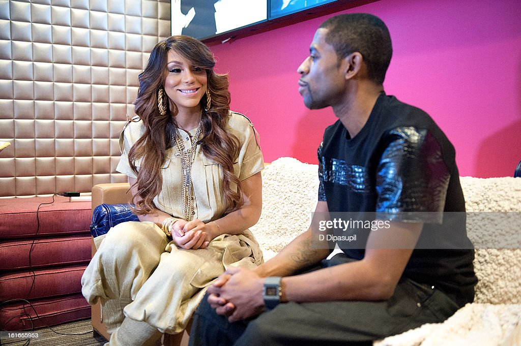 Tamar Braxton (L) visits BET's '106 & Park' at BET Studios on February 13, 2013 in New York City.