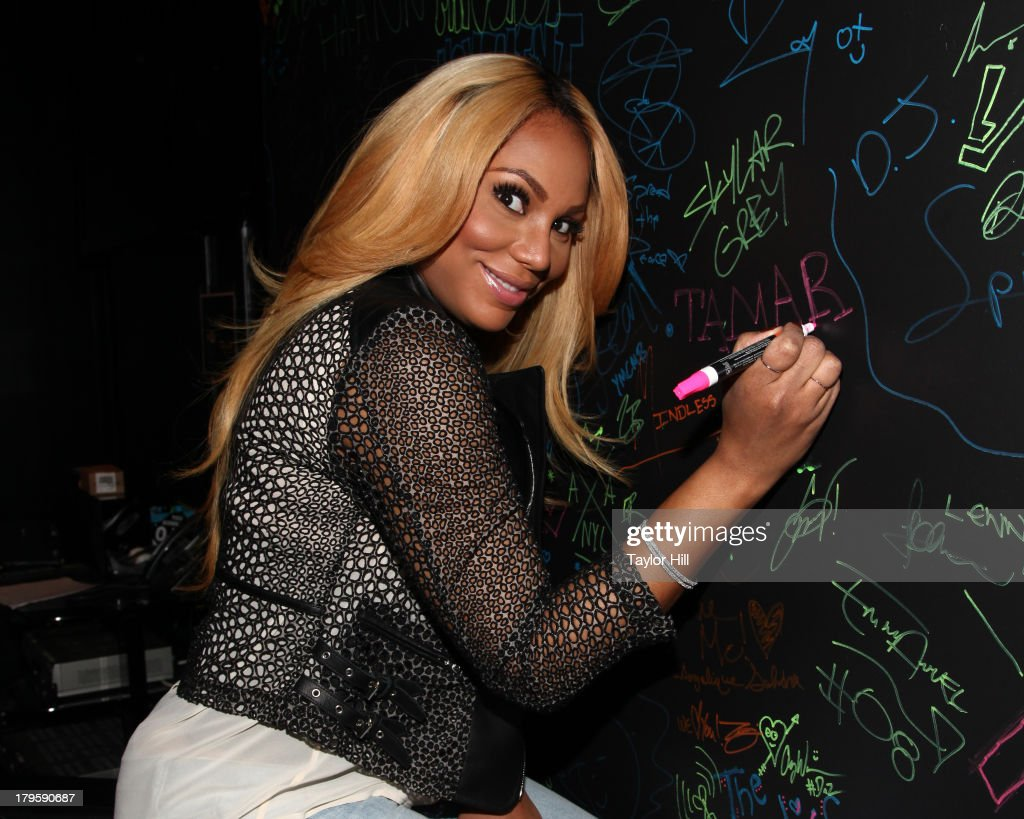 <a gi-track='captionPersonalityLinkClicked' href=/galleries/search?phrase=Tamar+Braxton&family=editorial&specificpeople=2079619 ng-click='$event.stopPropagation()'>Tamar Braxton</a> visits Music Choice's 'U&A' in Midtown West on September 5, 2013 in New York, United States.