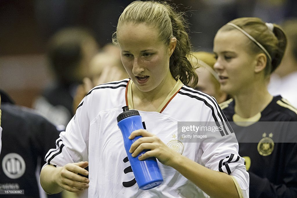 Tamar Dongus of Germany drinking water after the Under 19 Women's international friendly between Sweden and Germany at Tipshallen Stadium on November 21, 2012 in Vaxjo, Sweden.