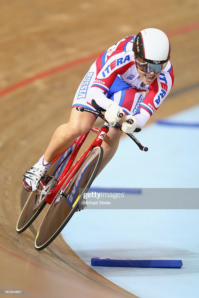 Tamara Balabolina of Russia inaction during the time trial round of the women's omnium on day five of the 2013 UCI Track World Championships at the Minsk Arena on February 24, 2013 in Minsk, Belarus.