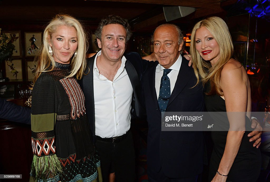 Tamara Beckwith, Alejandro Agag, Fawaz Gruosi and Caprice Bourret attend a private dinner hosted by Fawaz Gruosi, founder of de Grisogono, at Annabels on April 28, 2016 in London, England.