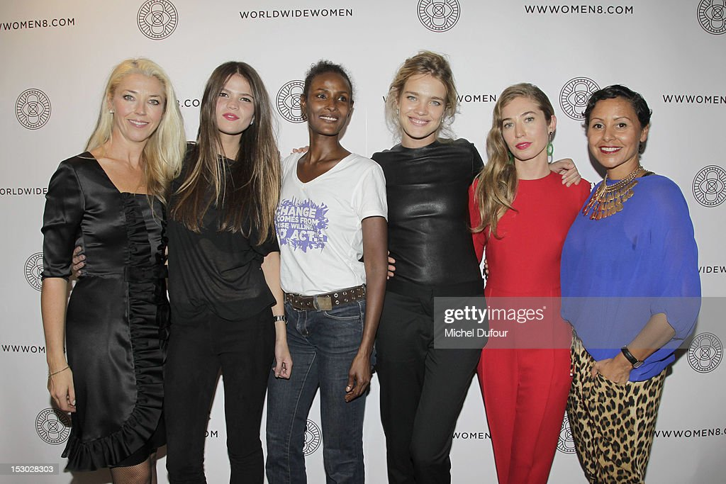 Tamara Beckwith, Alessandra Rehder, Waris Dirie, Natalia Vodianova, Anouska Beckwith and Claudia Legge attend the 'A Wanderer's Eyes' - World Wide Women Exhibition Premier - Cocktail on September 28, 2012 in Paris, France.