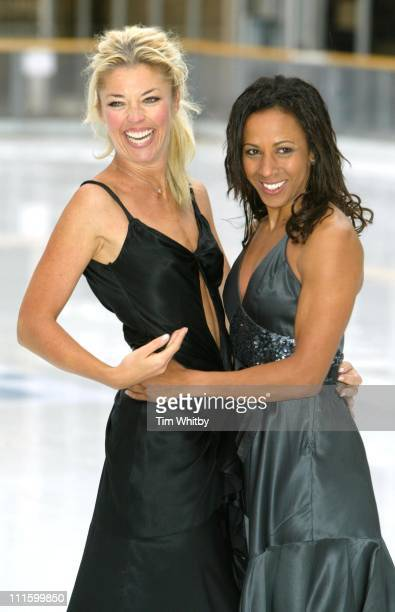 Tamara Beckwith and Dame Kelly Homes during 'Dancing on Ice' Photocall at Natural History Museum in London Great Britain