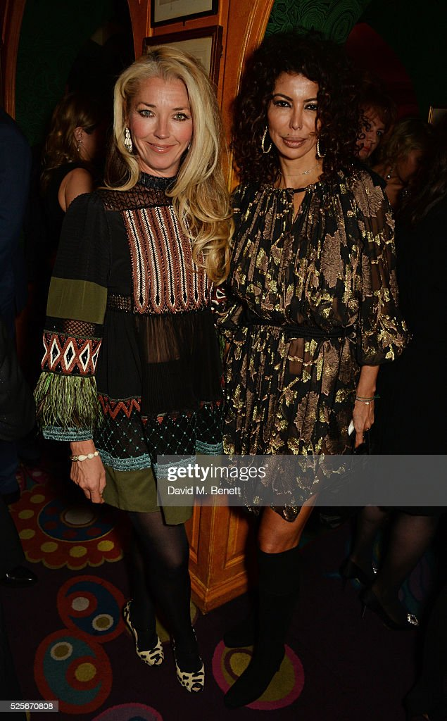 Tamara Beckwith (L) and Isis Monteverde attend a private dinner hosted by Fawaz Gruosi, founder of de Grisogono, at Annabels on April 28, 2016 in London, England.