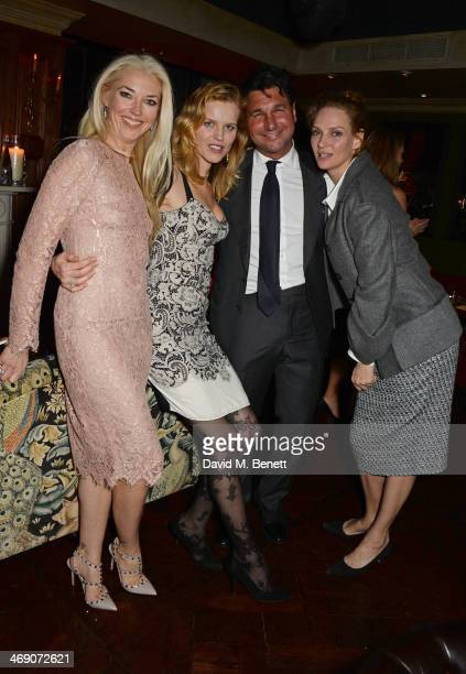 Tamara Beckwith Eva Herzigova Giorgio Veroni and Uma Thurman attend Giorgio Veroni's birthday party hosted by his wife Tamara Beckwith at The Rififi...