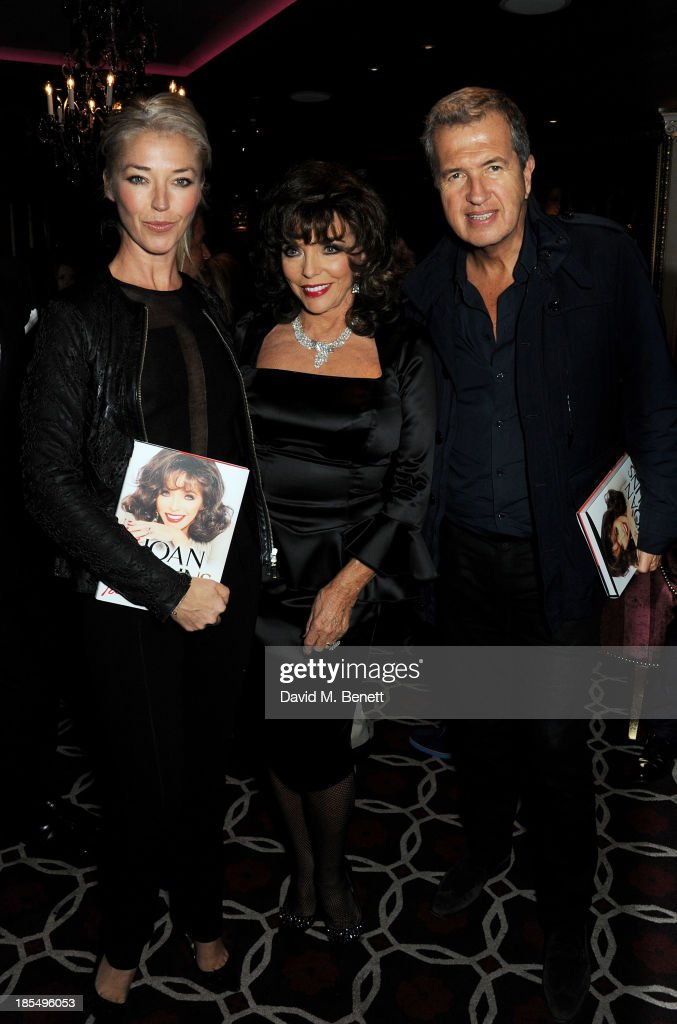 Tamara Beckwith, Joan Collins and Mario Testino attend the launch of Joan Collins new book 'Passion For Life' at No.41 Mayfair Club at The Westbury Hotel on October 21, 2013 in London, England.
