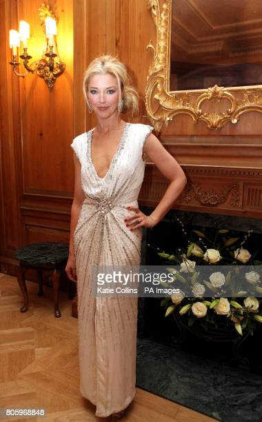 Tamara Beckwith wearing a Bruce Oldfield dress backstage at The Dorchester Hotel for The Goldilocks Fashion Show in aid of Kids Company