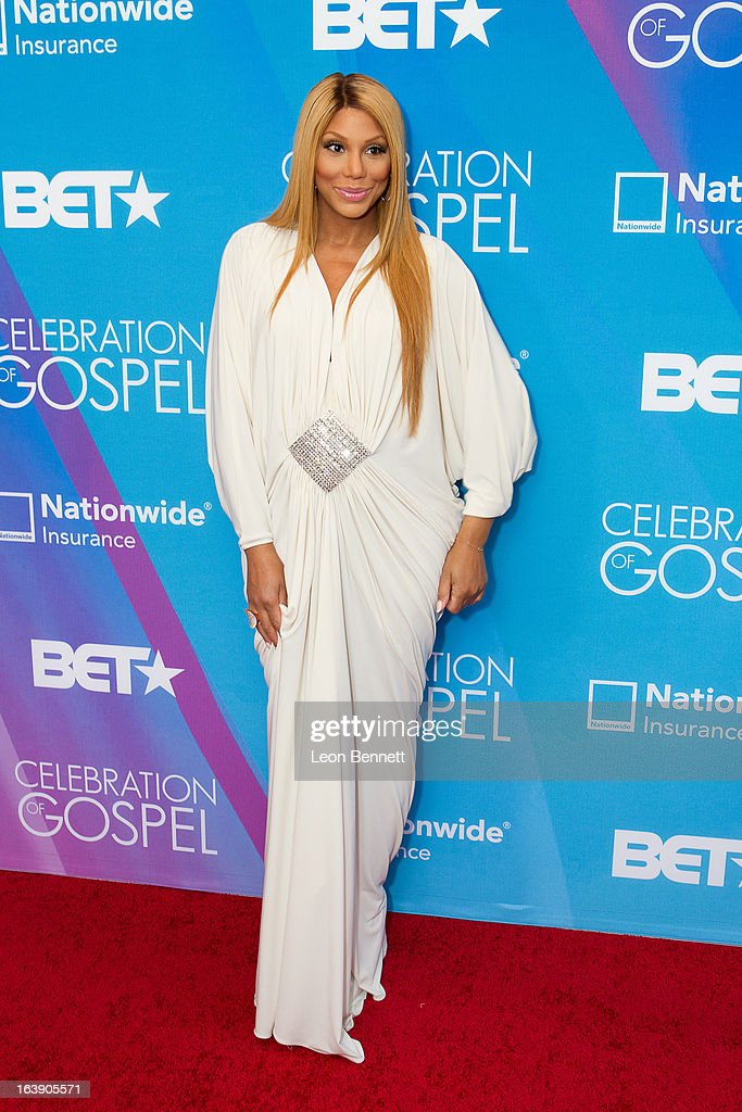 Tamara Braxton arrives at the BET Network's 13th Annual 'Celebration of Gospel' at Orpheum Theatre on March 16, 2013 in Los Angeles, California.