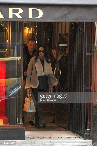 Tamara Ecclestone and her boyfriend Omar Khyami are sighted leaving the 'GOYARD' luggage store on January 17 2012 in Paris France